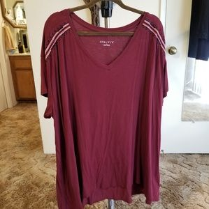 Ava & Viv Top Embroidered Red Size 3X Like New